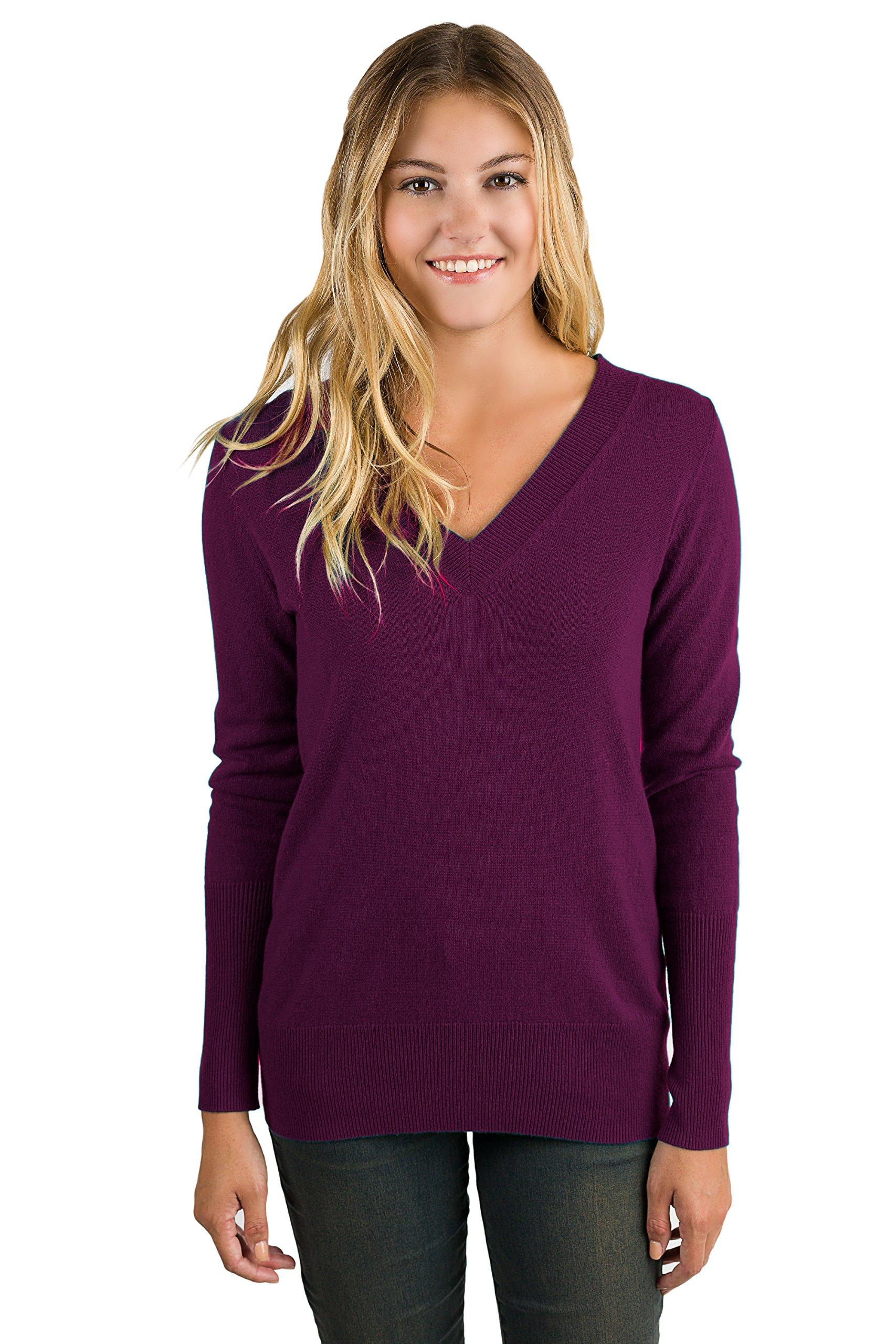 JENNIE LIU Women's 100% Pure Cashmere Long Sleeve Ava V Neck Sweater (M, Plum)