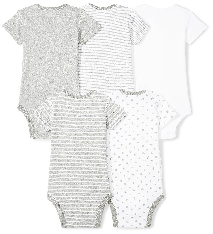 Moon and Back Unisex-Baby Infant Set of 5 Organic Short Sleeve Bodysuits