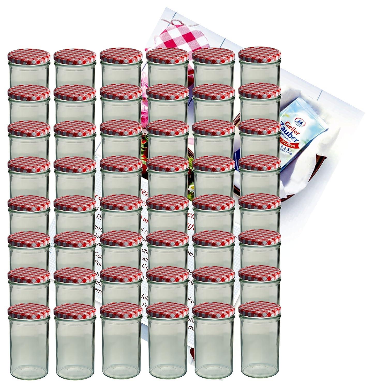 Set di 48 barattoli in vetro da 435 ml per conserva, con tappi To 82 rosso a scacchi, quaderno per ricette incluso MamboCat