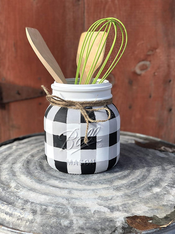half gallon utensil holder mason jar kitchen storage buffalo plaid kitchen utensil holder plaid painted mason jar utensil holder rustic utensil