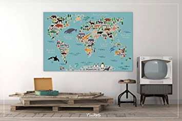 Amazon animal world map animal map canvas print kids world animal world map animal map canvas print kids world map for kids gumiabroncs Gallery