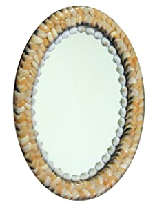 Indian Brand Store Ivory color seashell decorative handicraft frame wall decor oval shape mirror