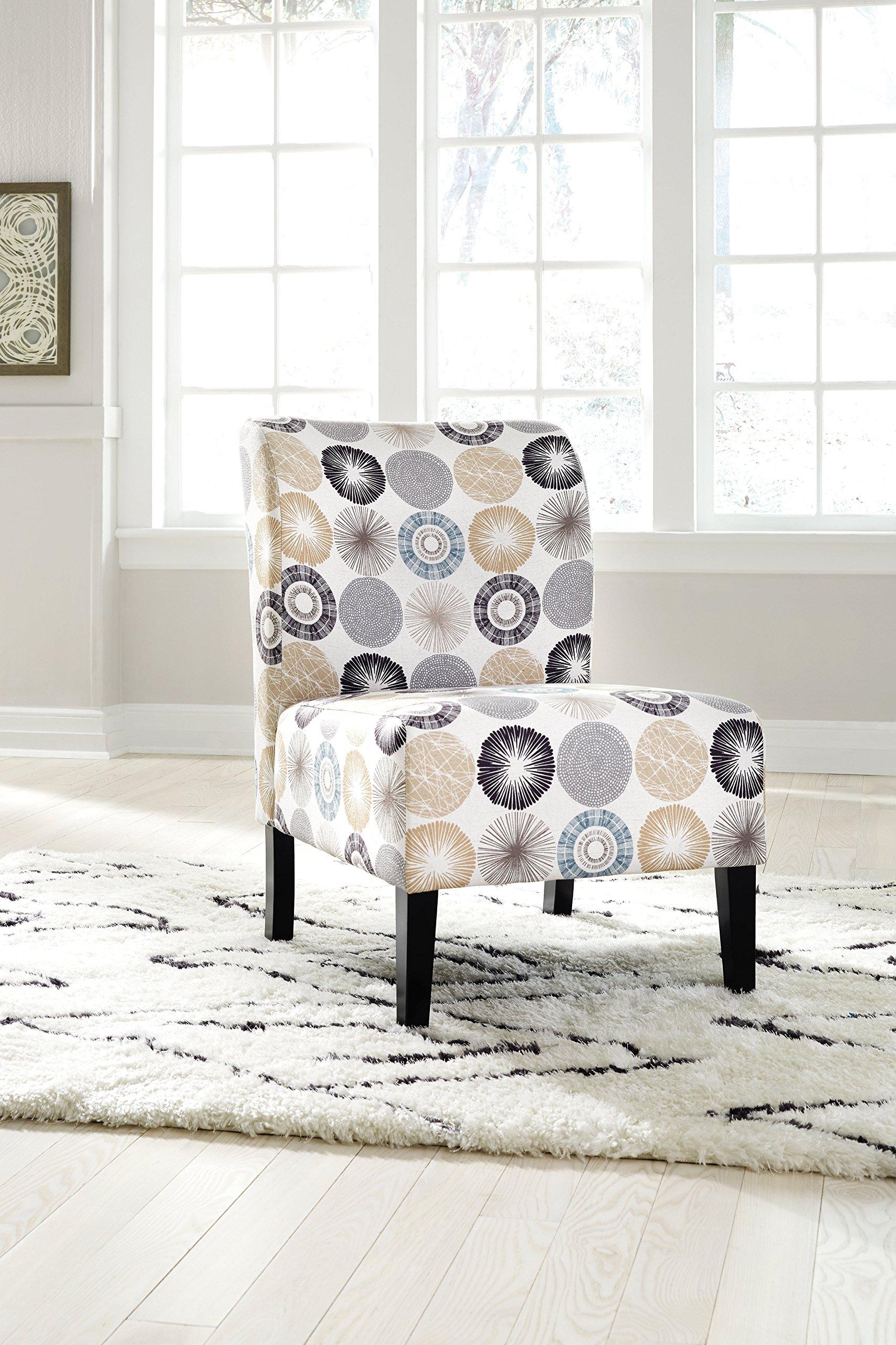 Ashley Furniture Signature Design - Triptis Accent Chair - Contemporary - Gray/Tan Geometric Design - Dark Brown Legs by Signature Design by Ashley (Image #2)