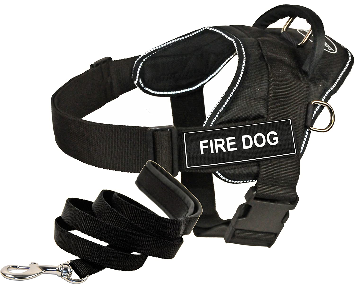 Dean and Tyler Bundle One DT Fun Works  Harness, Fire Dog, Reflective, Medium (28  34 ) + One Padded Puppy  Leash, 6 FT Stainless Snap Black