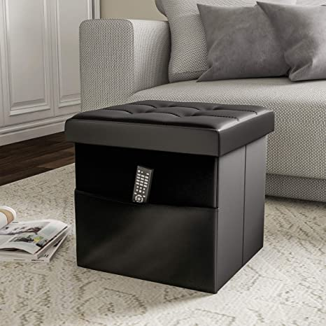 Enjoyable Lavish Home 80 Fott 3 Foldable Storage Cube Ottoman With Pocket Tufted Faux Leather Footrest Organizer For Bedroom Living Room Dorm Or Rv Black Creativecarmelina Interior Chair Design Creativecarmelinacom