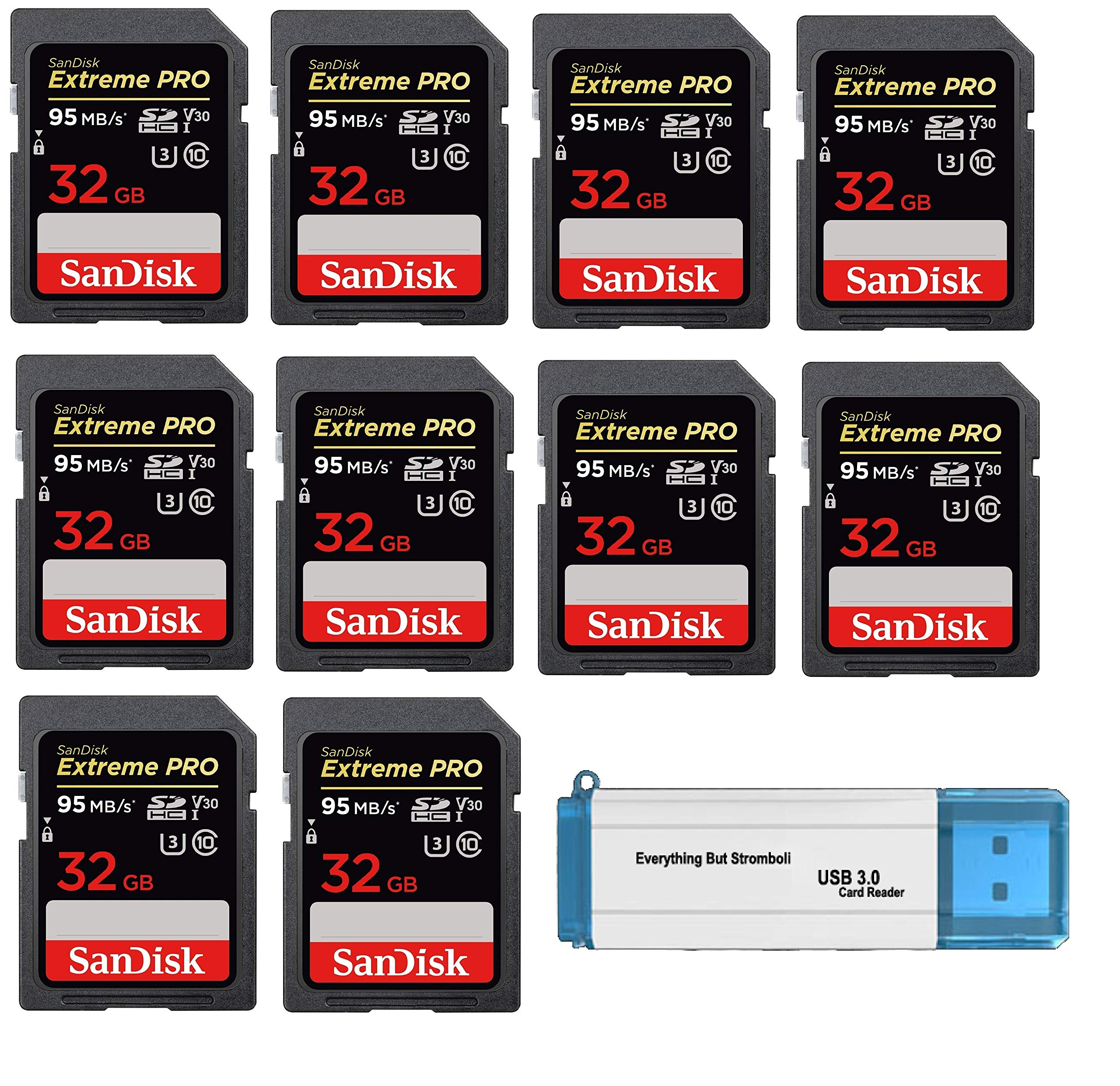 SanDisk 32GB (Ten Pack) SD HC Extreme Pro Memory Card for Digital DSLR Camera SDHC 4K V30 UHS-I (SDSDXXG-032G-GN4IN) with Everything But Stromboli (TM) 3.0 SD/TF Reader by SanDisk