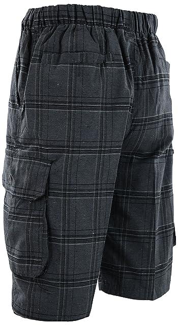 Mens Checkered Plaid Shorts Elastic Waist Band (Many Patterns)