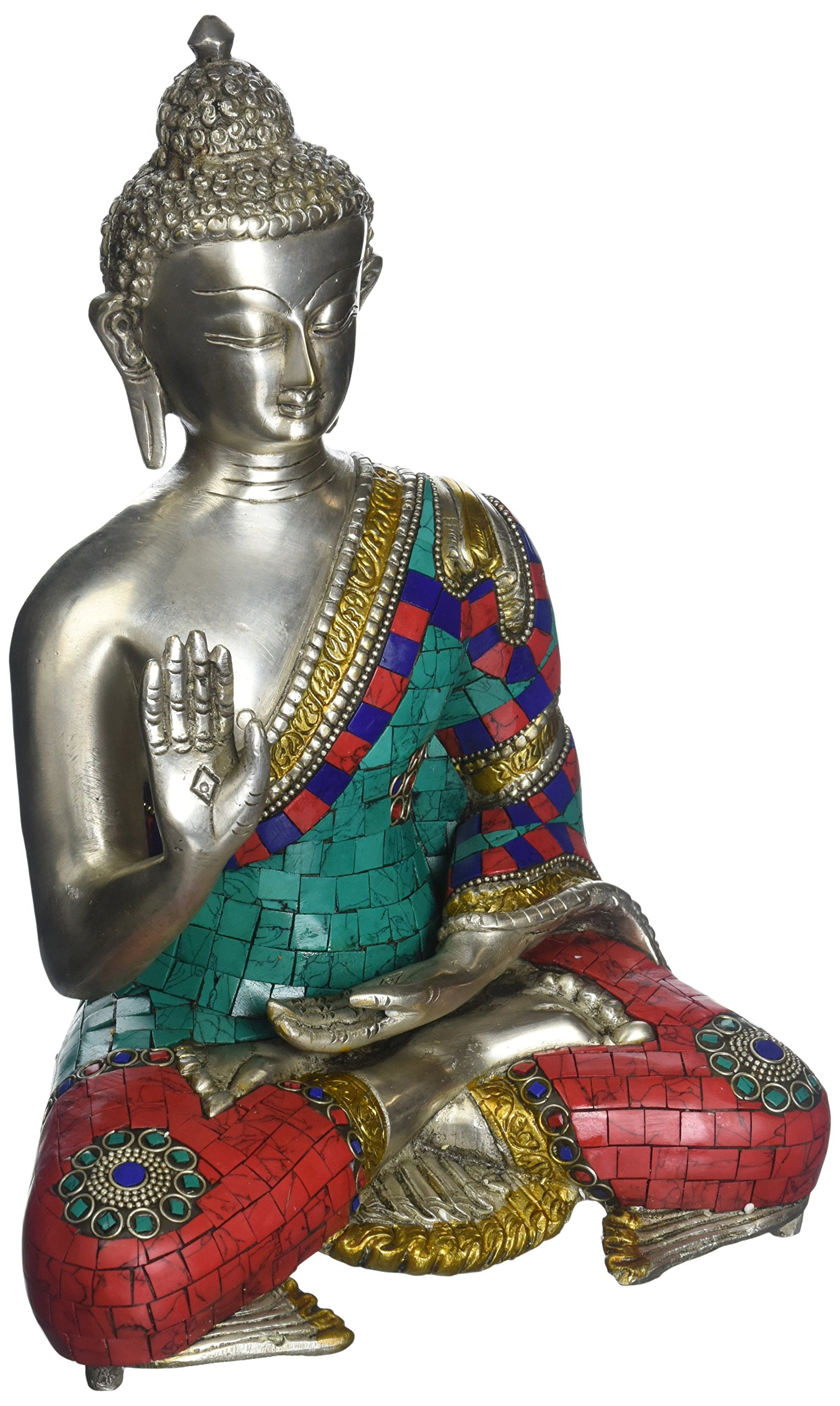 Aone India 11'' Abhaya Buddha Idol Brass Silver Turquoise Finish Hand Work Tibetan Buddha Statue Decor + Cash Envelope (Pack Of 10)