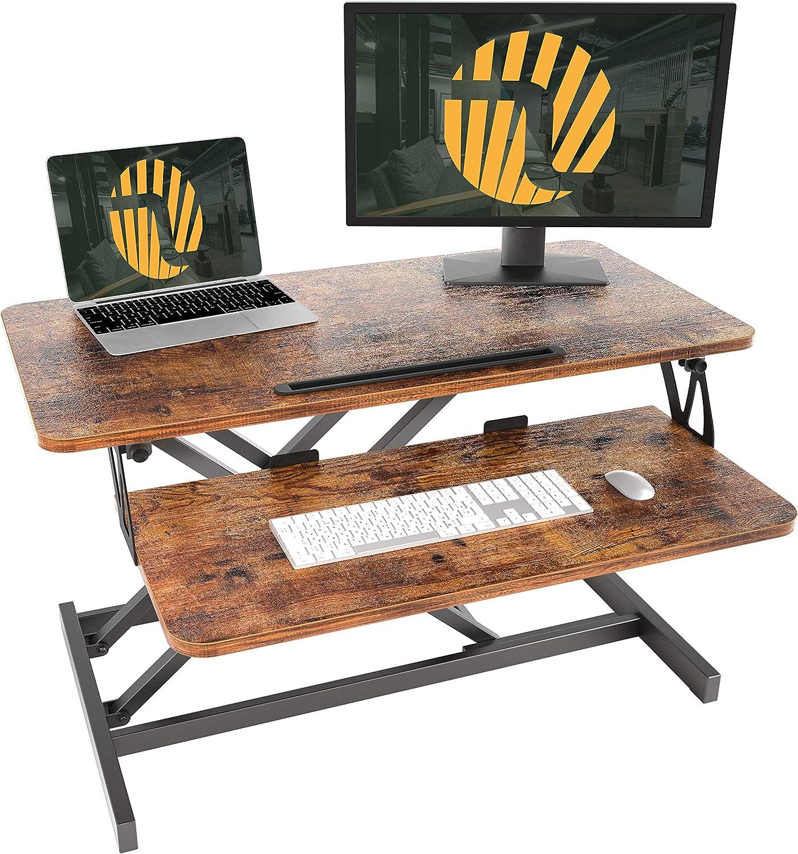 FEZIBO Height Adjustable Standing Desk Converter, 32 inches Desk Riser, Sit Stand Desk Ergonomic Tabletop Workstation Rustic Brown