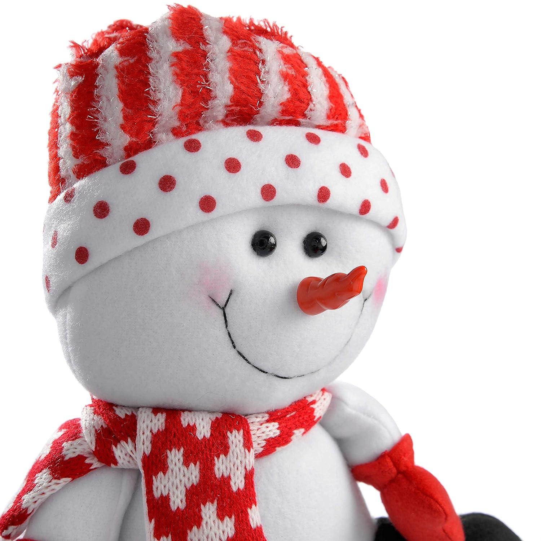 large WeRChristmas in piedi Babbo Natale e pupazzo di neve colore: Rosso//Bianco set di 2 Tessuto multicolour