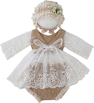3 Pcs//Set Newborn Photography Props Baby Lace Hat+Dress+Shorts Outfits Costume