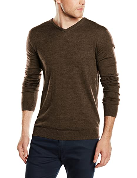 SHDTOWER MERINO V-NECK NOOS, suéter Hombre, Marrón (Caribou), X-Large Selected