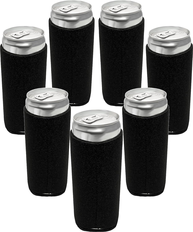 Neoprene Slim Can Sleeves - Fits 12 oz Slim Energy Drink & Beer Cans   Pack of 7 Black Slim Can Covers by Impirilux (7, Black)