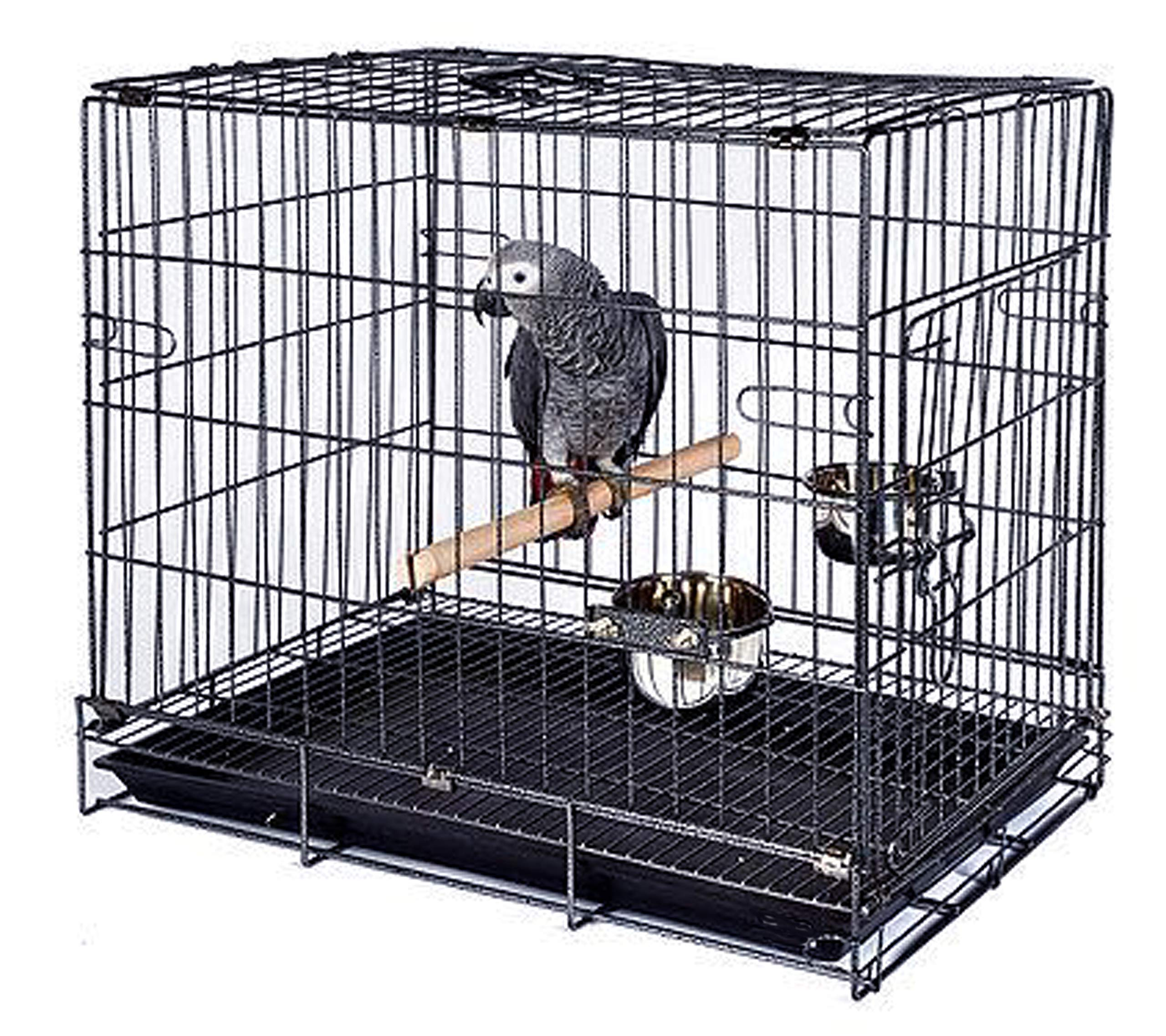 Mcage Travel Bird Parrot Cage Carrier Foldable with Bowls and Perch by Mcage