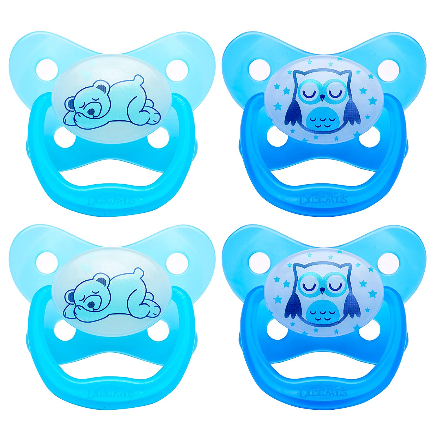 Dr. Browns PreVent Contour Glow in the Dark Pacifier, Stage 3 (12m+), Blue, 4-Count