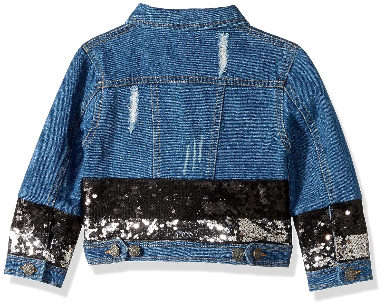 GUESS Girls Little Long Sleeve Sequin Ombre Denim Jacket K91L01D3G80