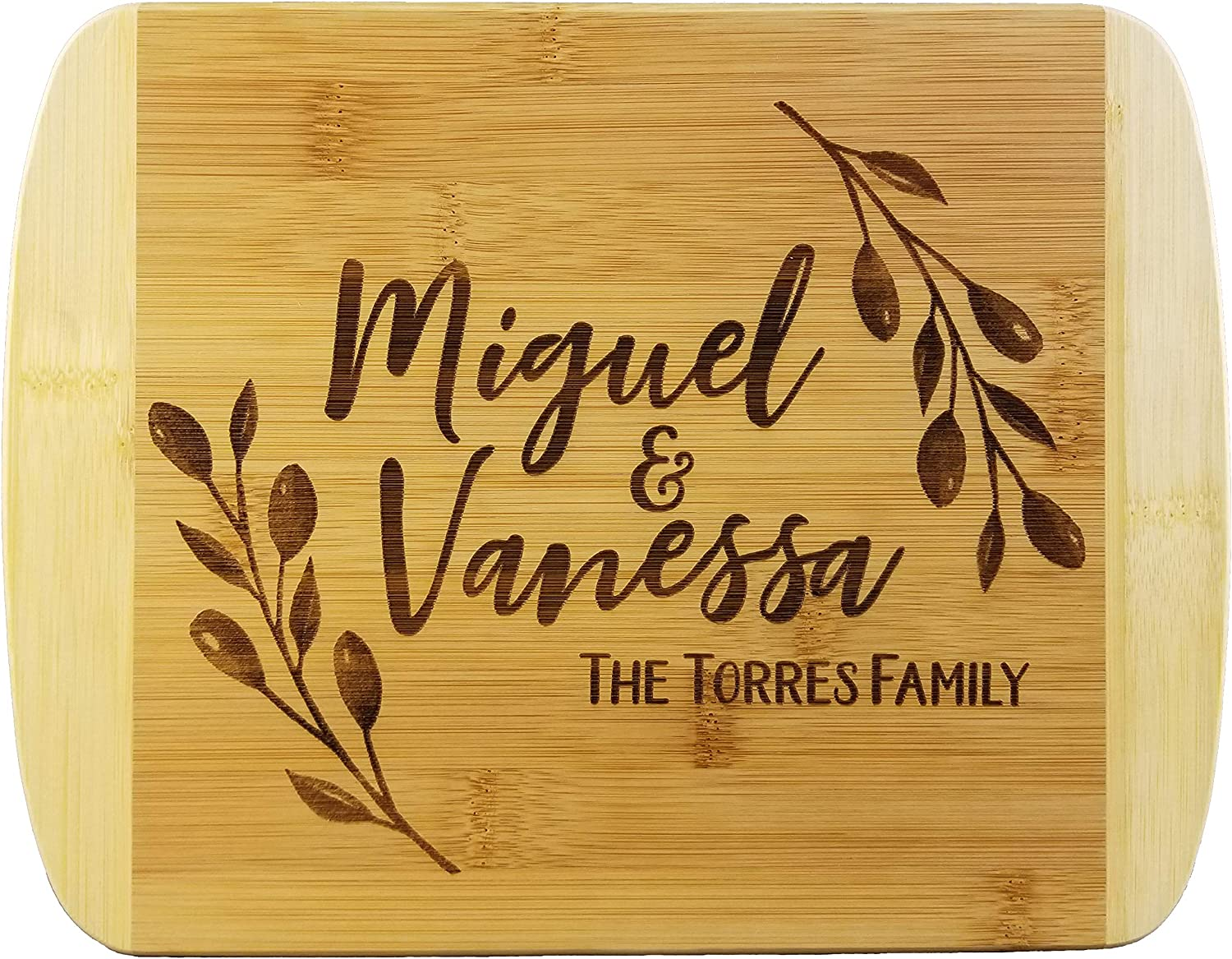 Rustic Wreath Custom Names Wooden Cutting Board (Thick) Custom Wedding Gift Engraved, Serving Tray Meat, Vegetables, Cheese Personalized Real