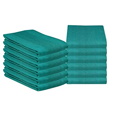 Glamburg 100% Cotton Kitchen Towel 12-Pack 18x28 Waffle Weave Kitchen Dish Towels or Cleaning Towels - Highly Absorbent & Quick Dry - Teal