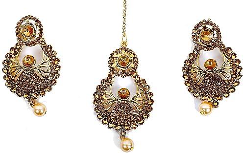 Hair & Head Jewelry Ethnic Indian Bollywood Antique Kundan Maang Tikka Earring Set Forehead Jewelry