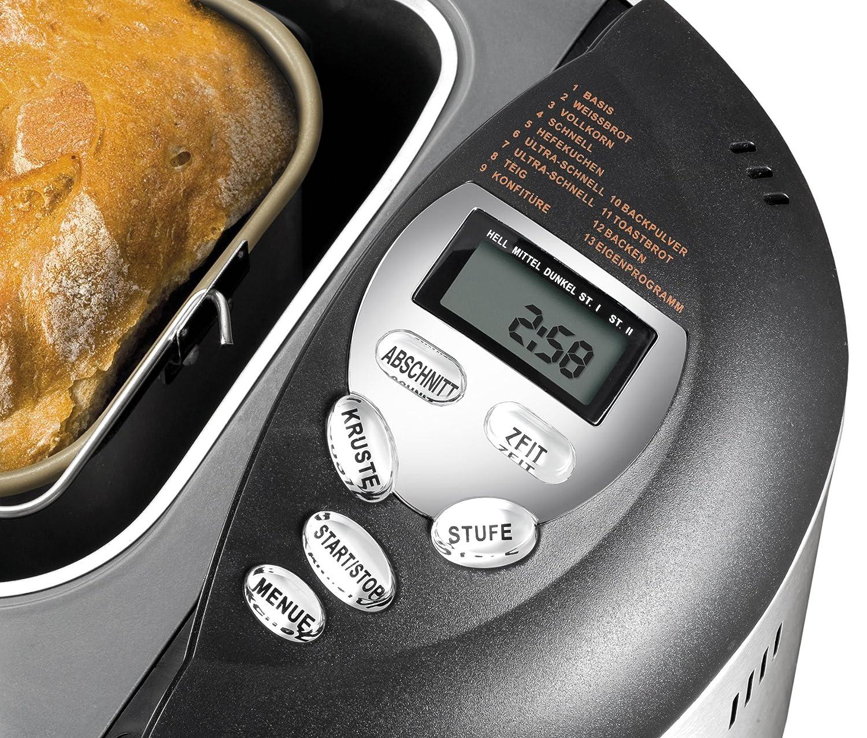 Unold Backmeister Onyx Panificadora 8695, 750-1000 gr, Acero Inoxidable, 600 W, 1 Kilogram, Gris Apagado y Negro