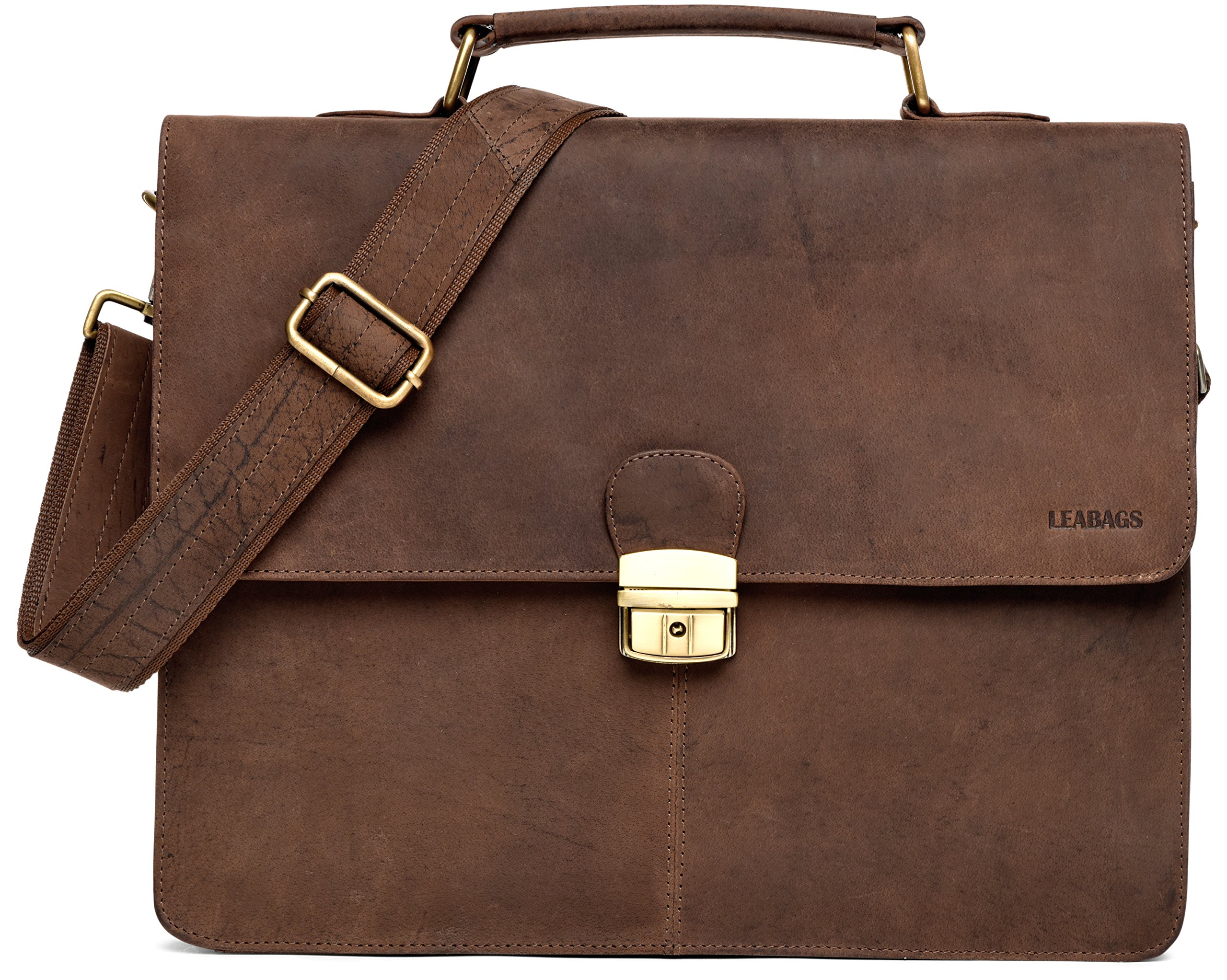 LEABAGS Miramar Briefcase of Genuine Buffalo Leather in Vintage Look - Muskat by LEABAGS (Image #1)