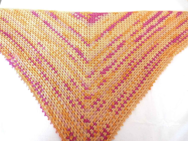 Schal für Damen gehäkelt – orange pink