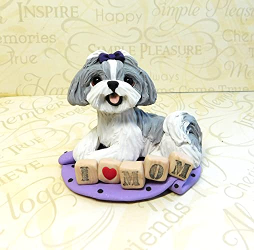 Amazoncom Grey And White Blue Shih Tzu With Topknot Shih Tzu