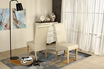 Genial WestWood Furniture Set Of 4 Premium Cream Faux Leather Dining Chairs Roll  Top Scroll High Back