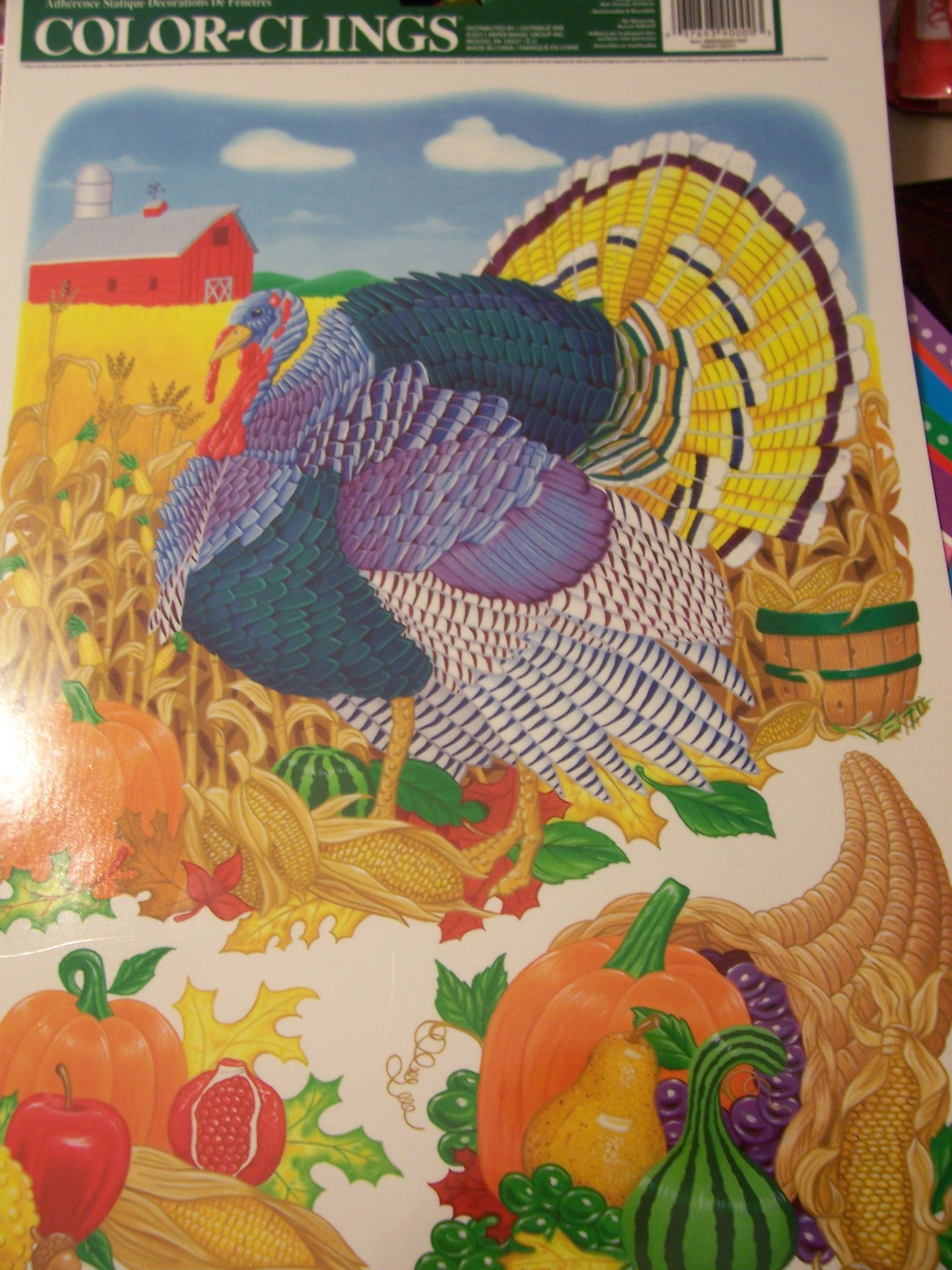 Fall Harvest Reusable Color Clings Window Clings ~ Country Harvest Turkey (3 Clings)