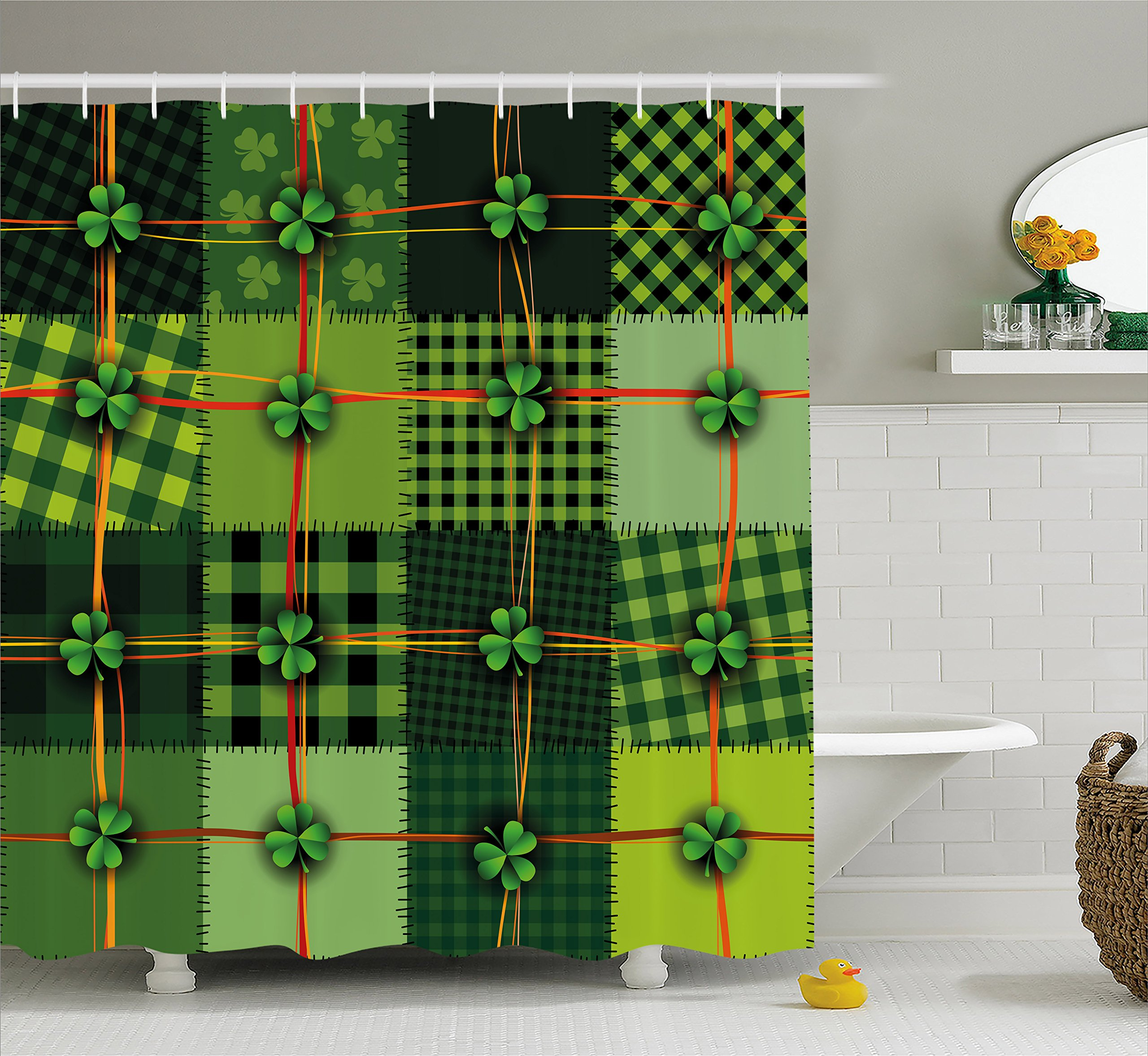 Ambesonne Irish Shower Curtain, Patchwork Style St. Patrick's Day Themed Celtic Quilt Cultural Checkered with Clovers, Fabric Bathroom Decor Set with Hooks, 70 inches, Multicolor