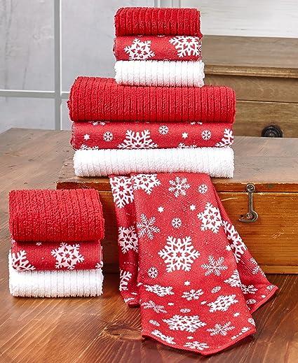 10 piezas Copo de nieve toalla/paño Set – gran para Navidad regalo de y