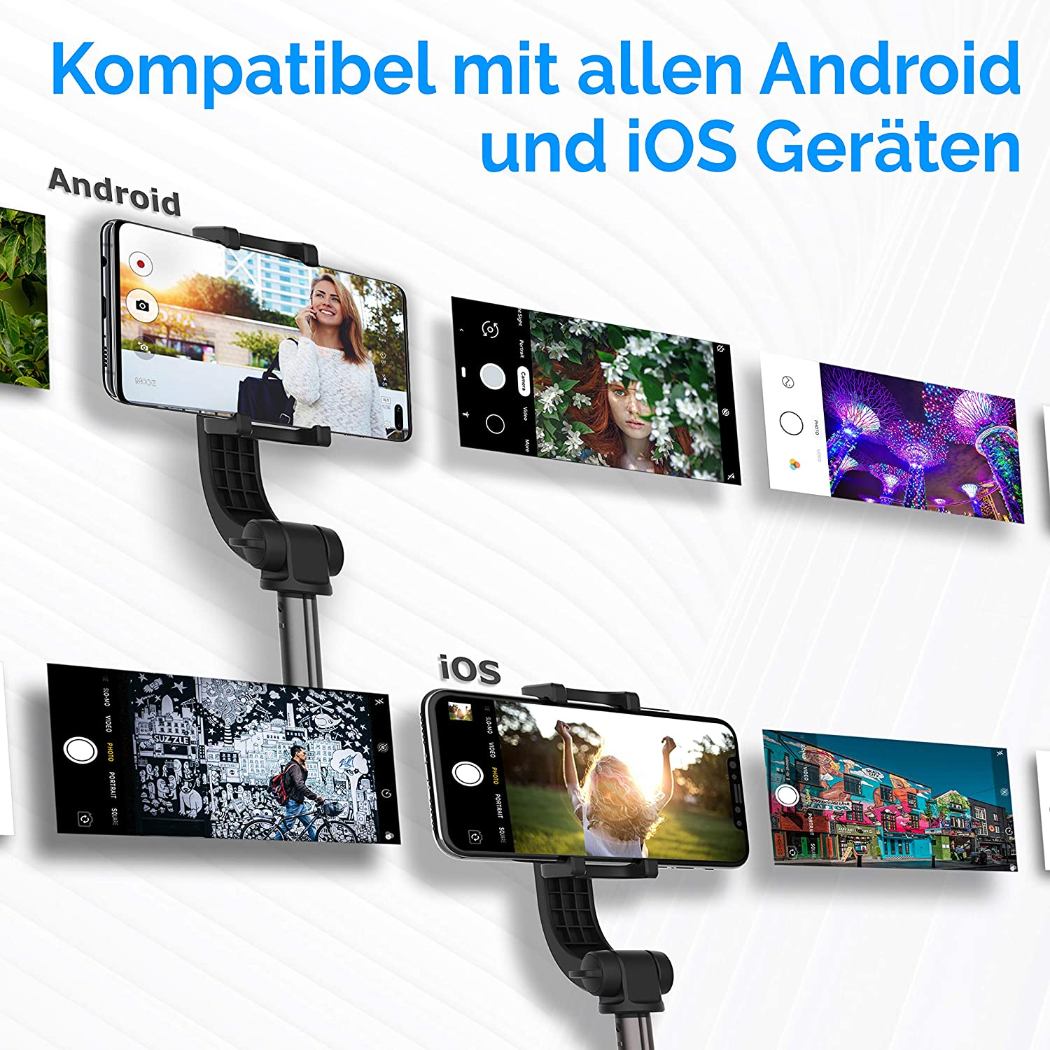 Bluetooth Selfiestick with stabilizer for Samsung Galaxy S10 S9 S9 S8 S7 and iPhone 11 Pro XR XS Max X 8 7 6s and all Smartphones Wireless Selfi Monopod Power Theory Gimbal Selfie Stick with Tripod