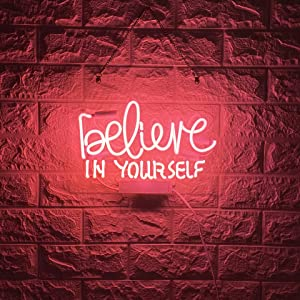BYGO Neon Signs Believe in Yourself Neon Light Pink Handmade Real Glass Tube Neon Lights Sign for Bar Party Bedroom Hotel Office Garage Ultra Bright Night Neon Light Wall Decor Sign