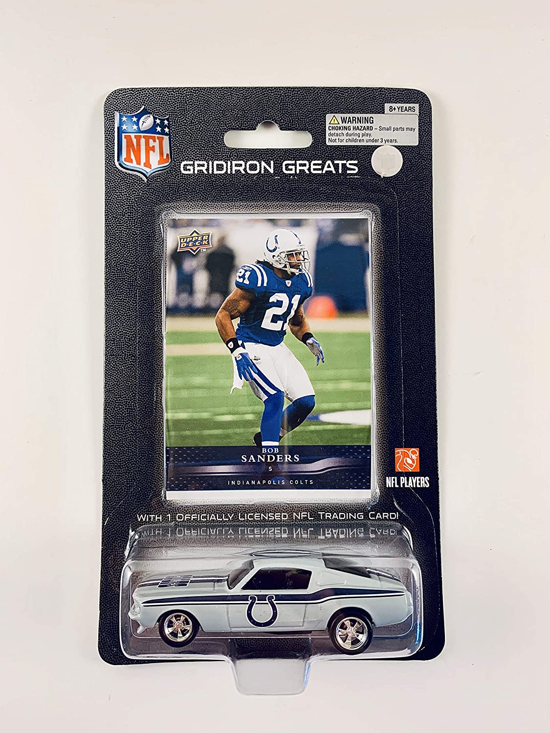 2008 UPPER DECK NFL Players REPLICA DIE CAST Car with Card 1:64 Scale 1967 Ford Mustang Fastback - Bob Sanders INDIANAPOLIS COLTS 91Hk6yhrctL