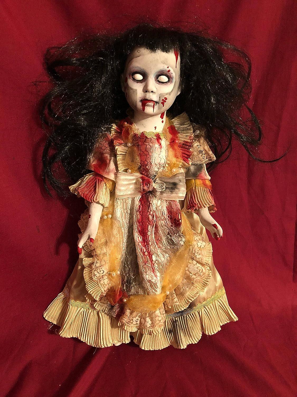 Sale creepy doll small  clown girl spooky doll ooak gothic horror halloween art by christie creepydolls