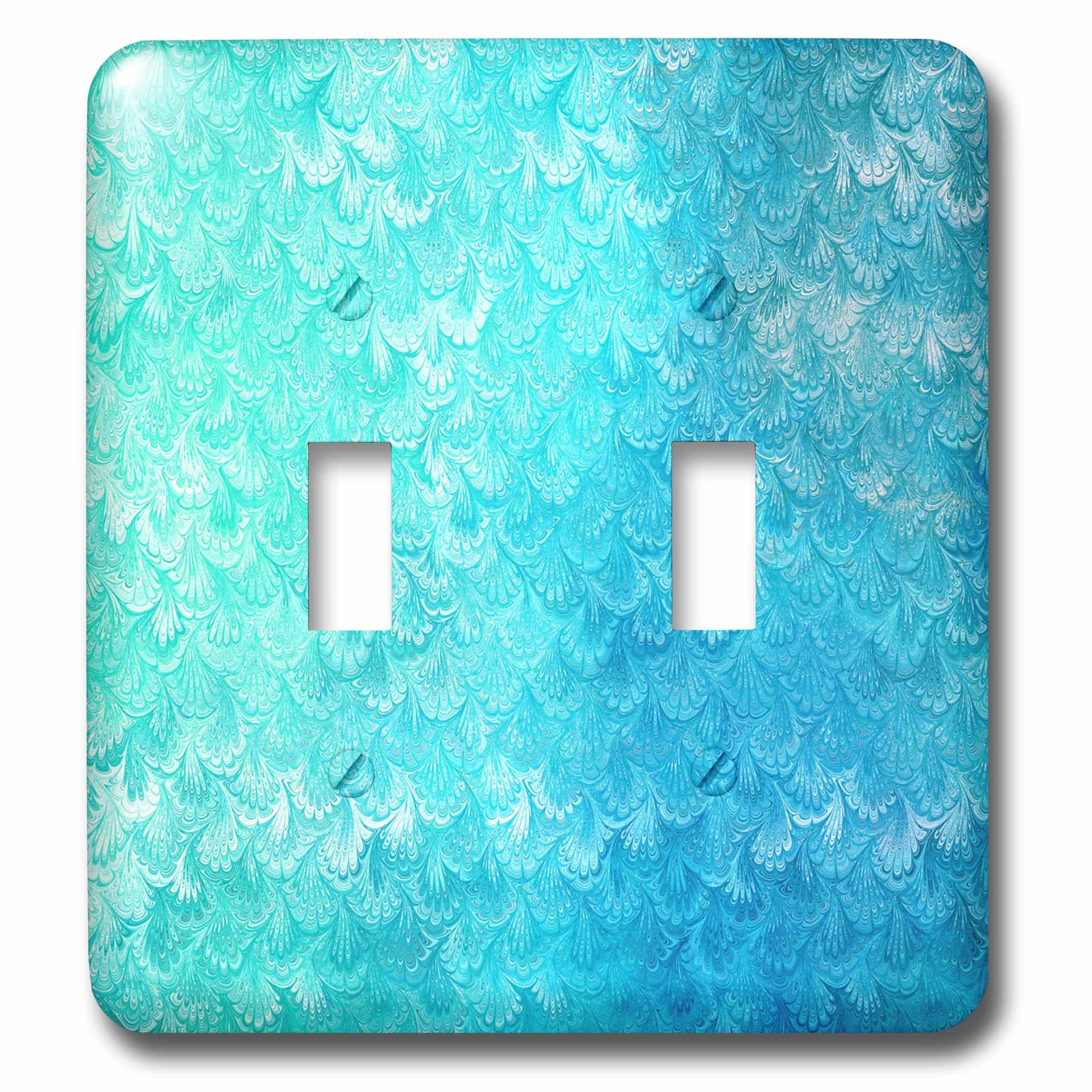 3dRose Uta Naumann Faux Glitter Pattern - Girly Trend Teal Blue Luxury Elegant Mermaid Scales Glitter Glamor - Light Switch Covers - double toggle switch (lsp_272870_2)