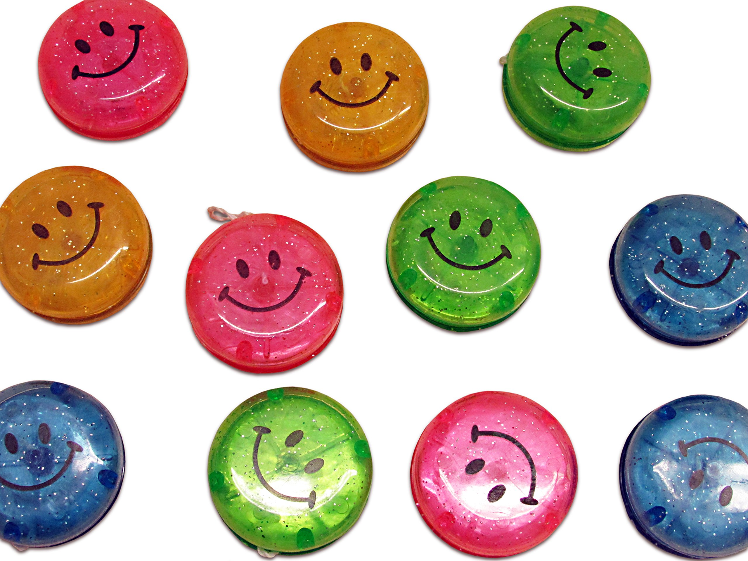 Dazzling Toys Party Favor Set Glitter Smiley Yo-yos 24 Pack.