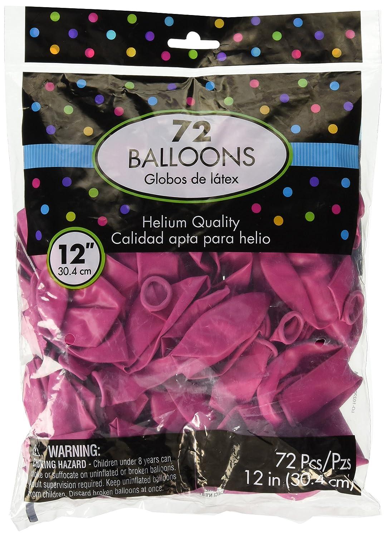 Party Decor 288 Ct. Amscan Plain Latex Balloons Bright Pink