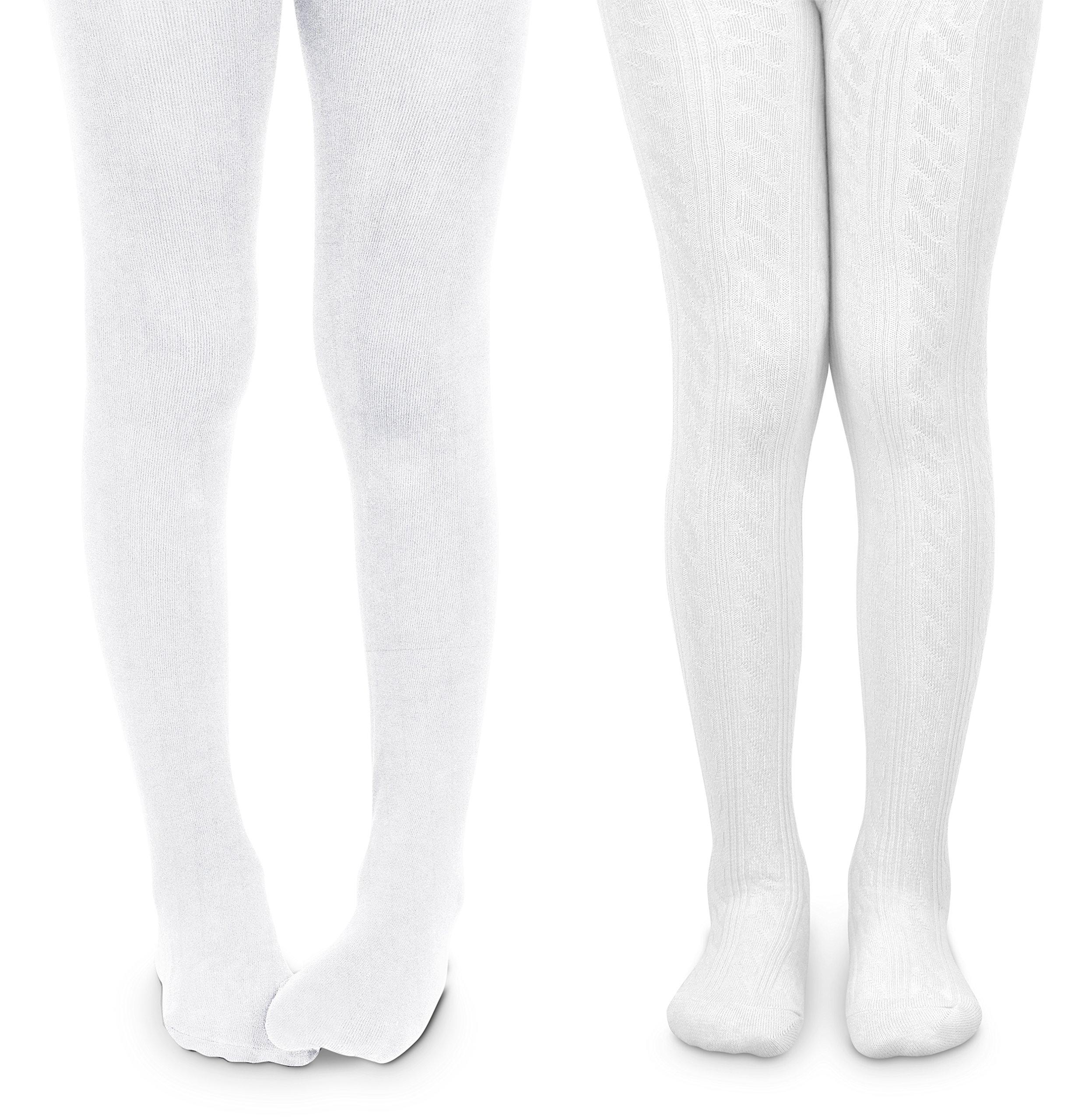 Jefferies Socks Girls School Uniform Cable & Rib Tight 2 Pack (8-10 Years, White)