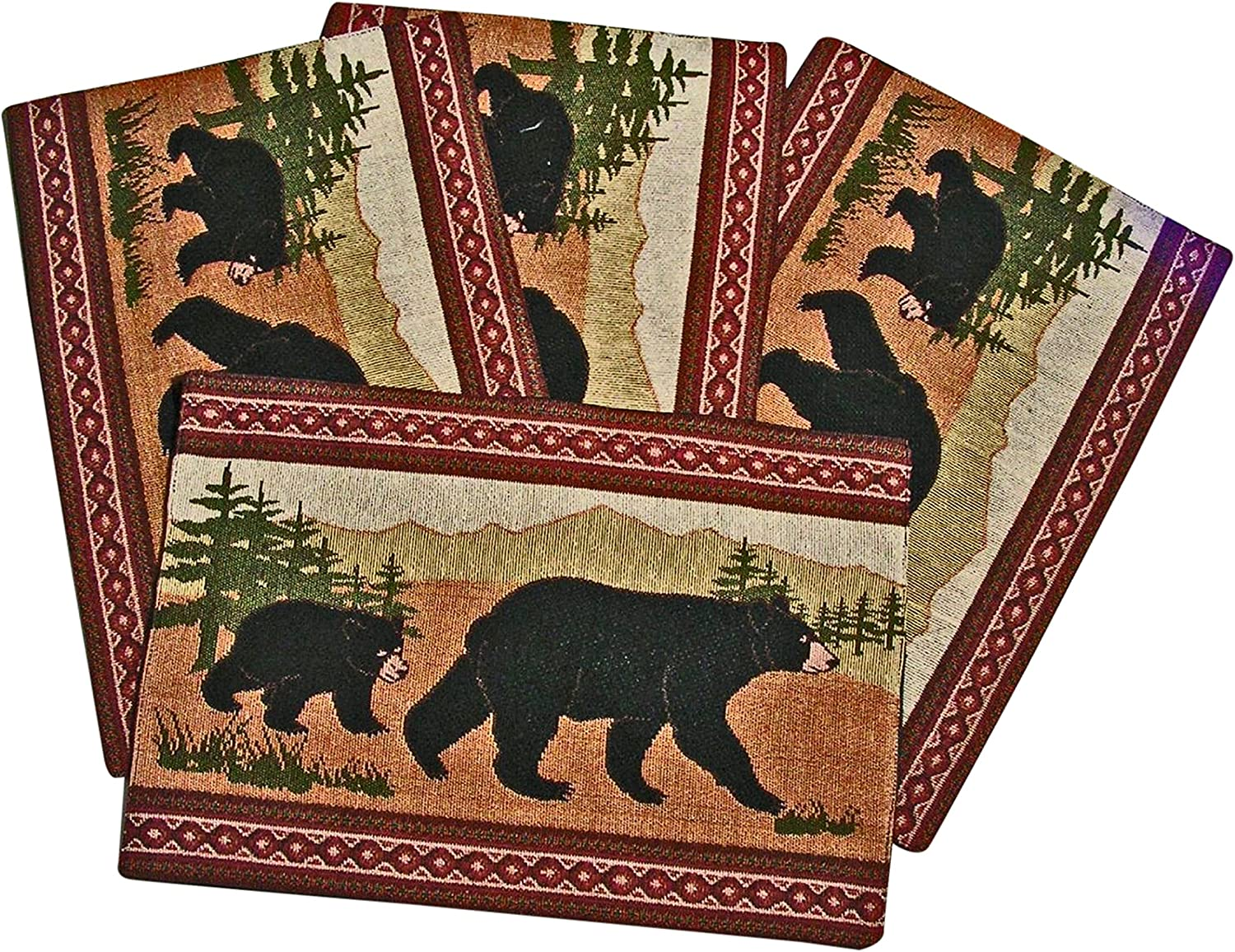 2 Fringed Bear Scene Woven Cotton Rustic Forest Country Cabin Placemats 13x19