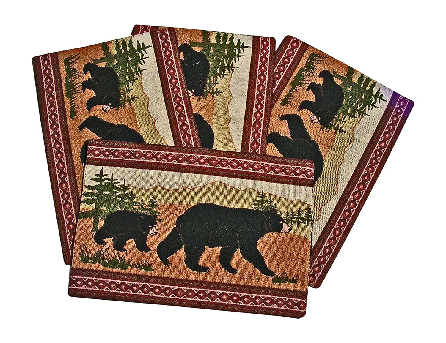 Black Bear Southwestern Design Placemats, Set of 4, 13x19 inches