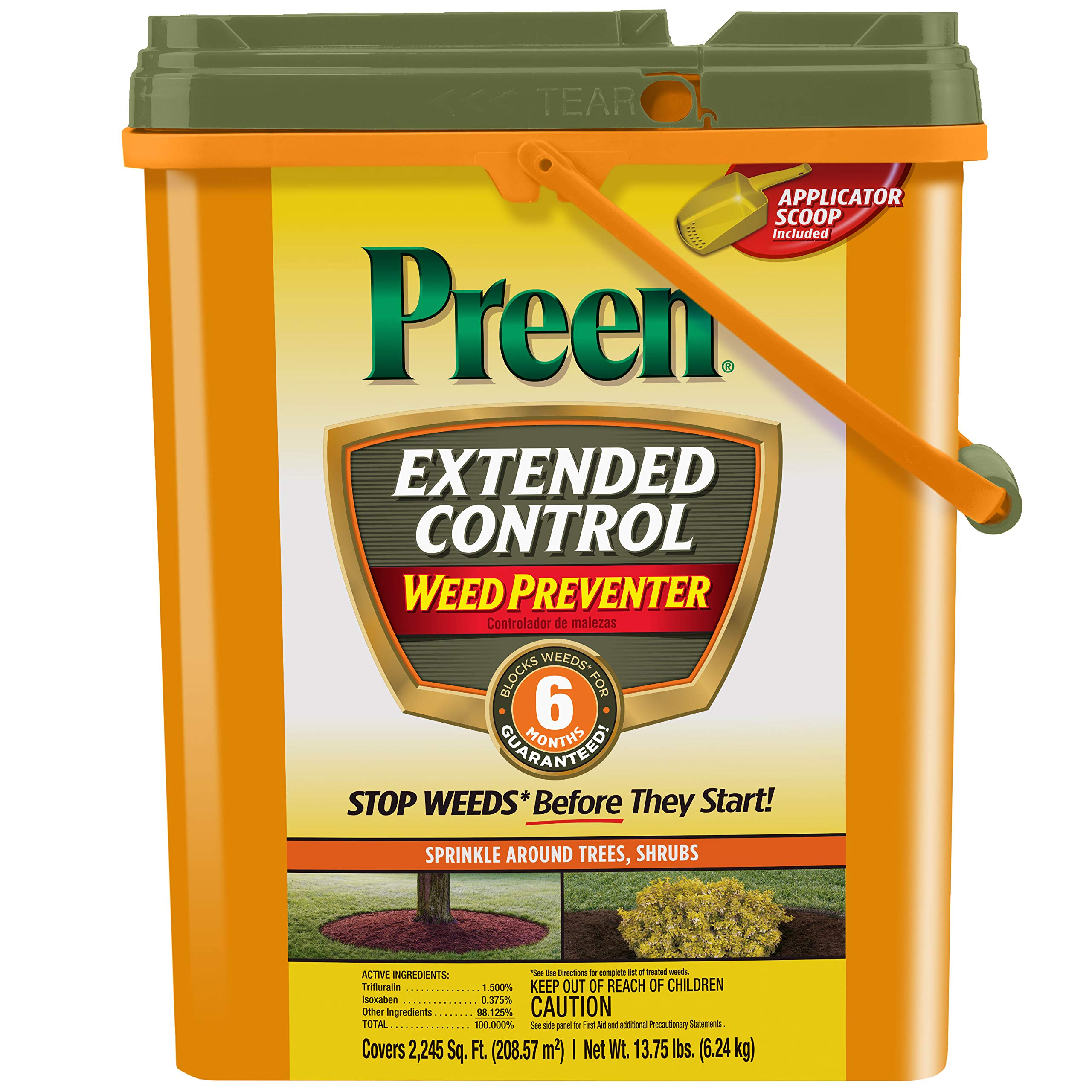 Preen Extended Control Weed Preventer, 13.75 lb pail covers 2,245 sq ft