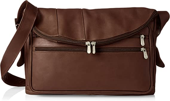 Piel Leather Cross Body Tote, Chocolate