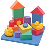 EWONDERWORLD Non-Toxic Floating Waterproof Foam Building Blocks Bathtub Toys for Children w/ Tote Bag: Non-Recycled Quality & Lead Free