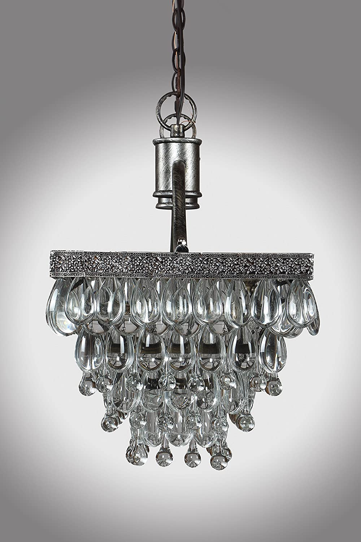 32 antique silver crystal glass drop rectangular clarissa 32 antique silver crystal glass drop rectangular clarissa chandelier amazon arubaitofo Image collections