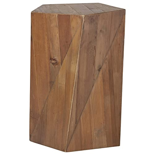 Rivet Rustic Reclaimed Fir Wood Side End Table, 16.5 W, Natural