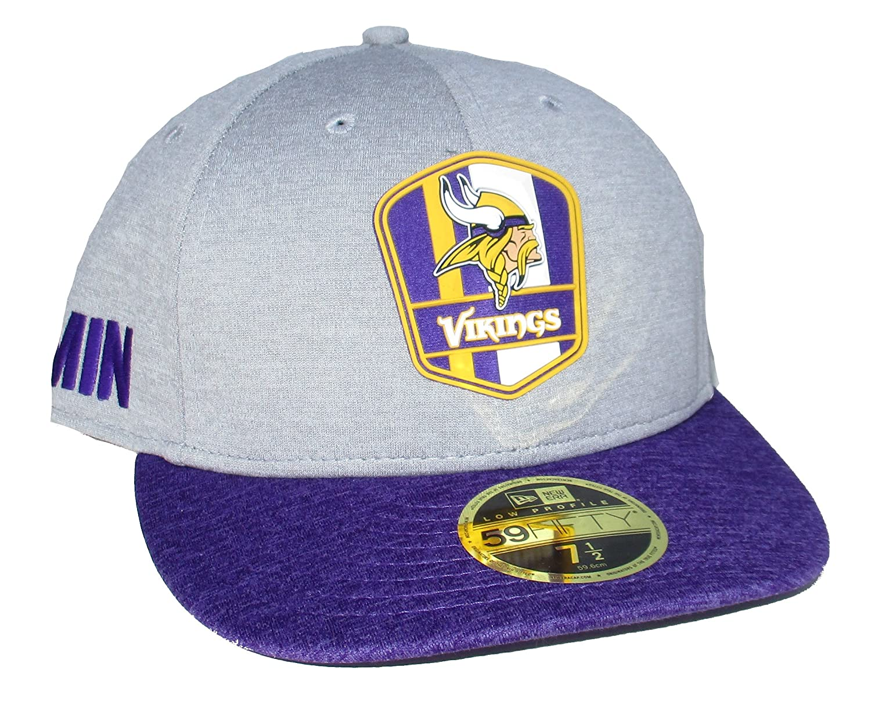 Amazon.com   Minnesota Vikings New Era Low Profile Fitted Size 7 1 2 Hat Cap  - Gray And Purple   Sports   Outdoors 829b2b9e5f5