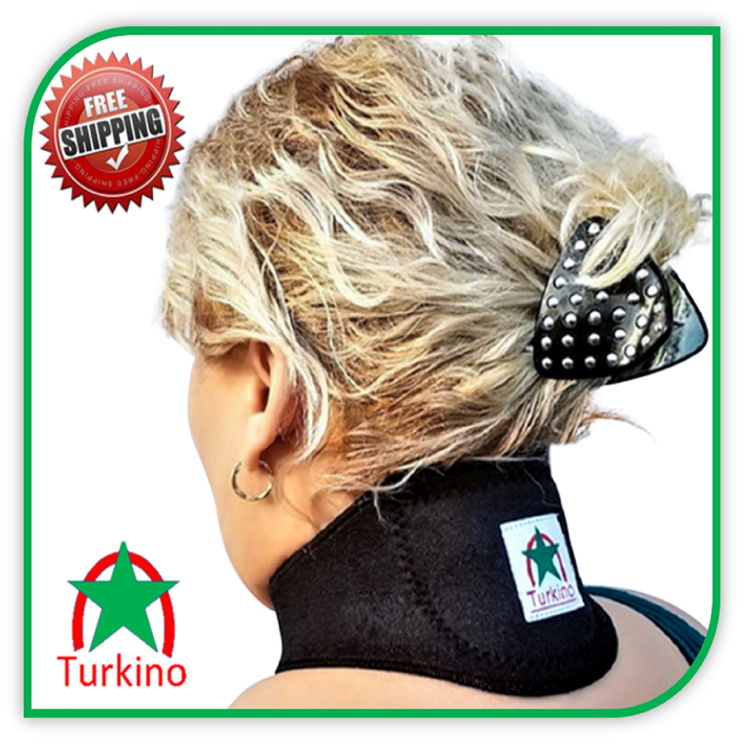 Neck Brace ~ New Black support Turkino Tourmaline Portable Device ~ Physical Therapy ~ Pain Relief, Arthritis, Depression, Stress, Headaches ~ Natural Remedy Cervical Collar Men, Women