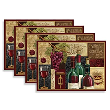 Blissful Living Set of 4 Placemats, Heat Stain Resistant - Decorate Your Kitchen Table Our Beautiful Rectangle pad placemat (Red Wine Patchwork)