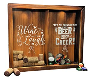 """Napa Gift Store Wine Cork & Beer Cap Holder Shadow Box - Wall Mounted or Free Standing - Wine & Bar Decor for Him & Her - Rustic Stained Wood - 11"""" x 13"""""""